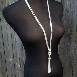 Joan Rivers Tassel Necklace Silvertone Multi Strai